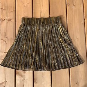 H&M Gold Pleated Skirt, size small
